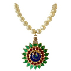 """French Mughal Pate de Verre Pearl Statement """"Collier"""" Necklace"""