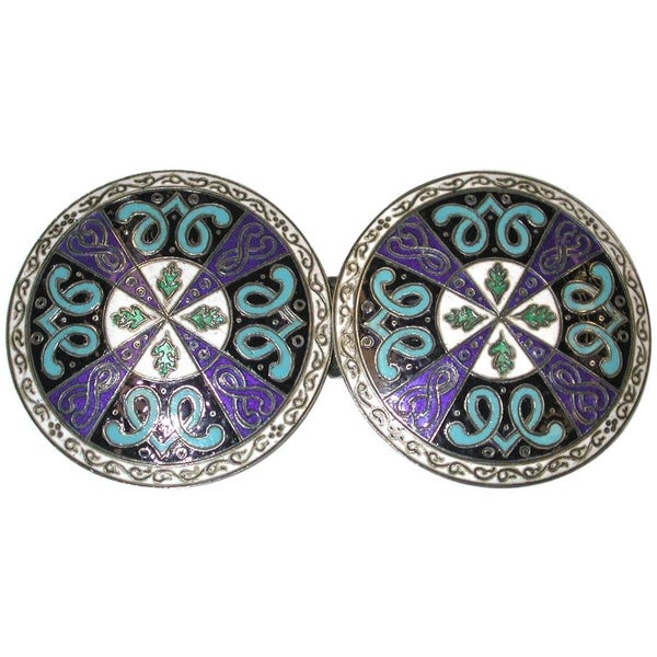 French Multicoloured Enamel and Silver Buckle, Paris,France, circa 1880