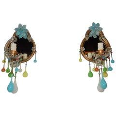 French Multicolored Opaline Murano Glass Mirrored Sconces