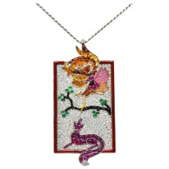 French Multi-Gem 8.50 Carats Diamond Platinum Rooster & Fox Pendant Necklace