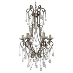 French Murano Drops and  Bobeches Big Chandelier, circa 1900