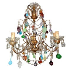 French Murano Fruit and Drops Crystal Swags Chandelier, circa 1920