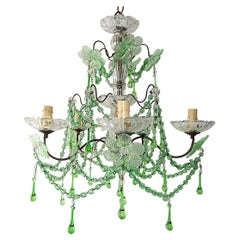 French Murano Green Drops Macaroni Swags Flowers Chandelier, circa 1920