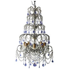 French Murano Lavender Drops and Crystal Swags Chandelier, circa 1920
