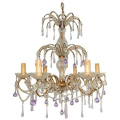 French Murano Lavender Drops and Crystal Swags Chandelier circa 1920