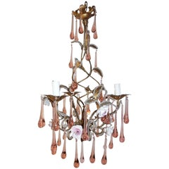 French Murano Pink Drops Beaded Porcelain Roses Helix Tole Chandelier