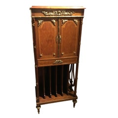 French Music Cabinet, 19th Century with Marquetry and Bronze Mounts, Marble Top