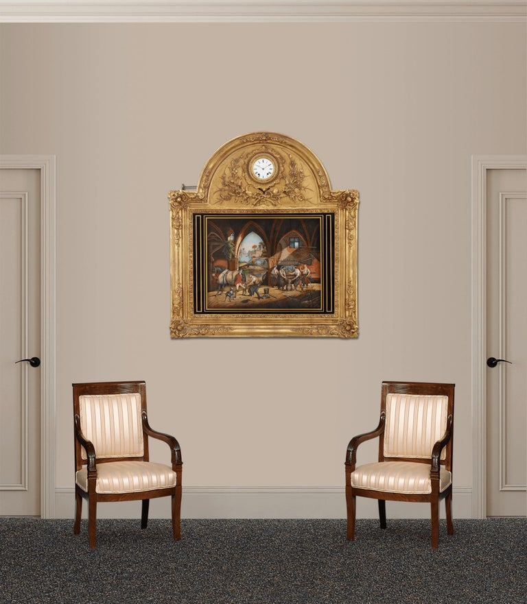 French Musical Automaton Picture Clock For Sale 3