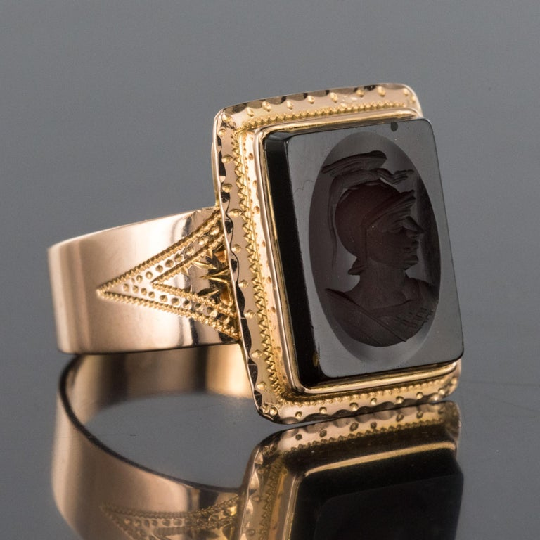 French Napoleon Third 19th Century Carnelian Intaglio Gold Signet Ring 10