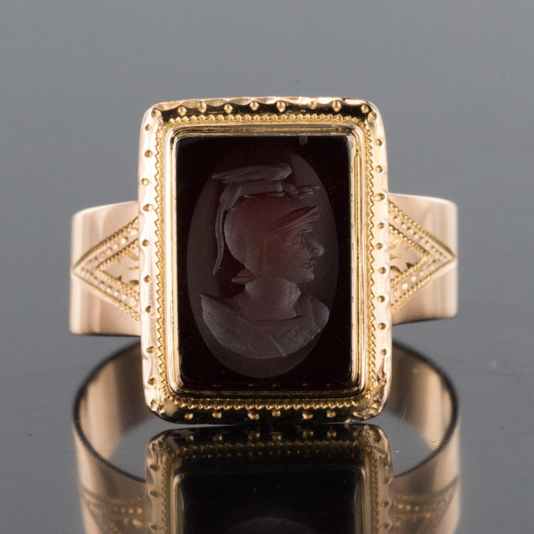 French Napoleon Third 19th Century Carnelian Intaglio Gold Signet Ring 11
