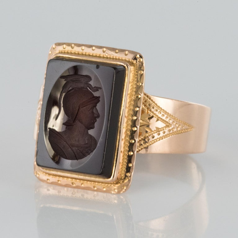 French Napoleon Third 19th Century Carnelian Intaglio Gold Signet Ring 3