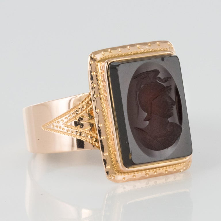 French Napoleon Third 19th Century Carnelian Intaglio Gold Signet Ring 7