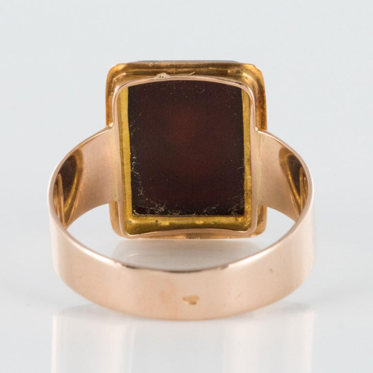 French Napoleon Third 19th Century Carnelian Intaglio Gold Signet Ring 8