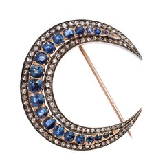 French Napoleon 3 Antique Crescent Moon Sapphire Diamond Brooch