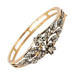 French Napoleon 3 Diamonds Rose Gold Silver Bangle Bracelet