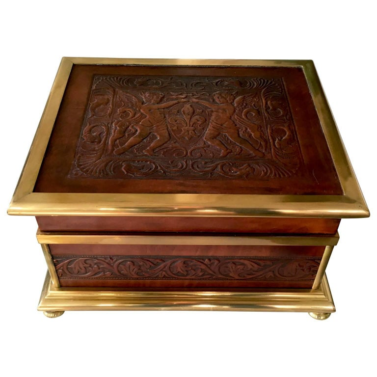 French Napoleon Brass and Leather Box Putti