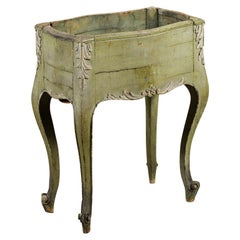 French Napoléon III 1850s Green Painted Planter with Carved Acanthus Leaves