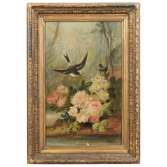 French Napoléon III 1850s Oil on Canvas Framed Painting with Bird and Roses
