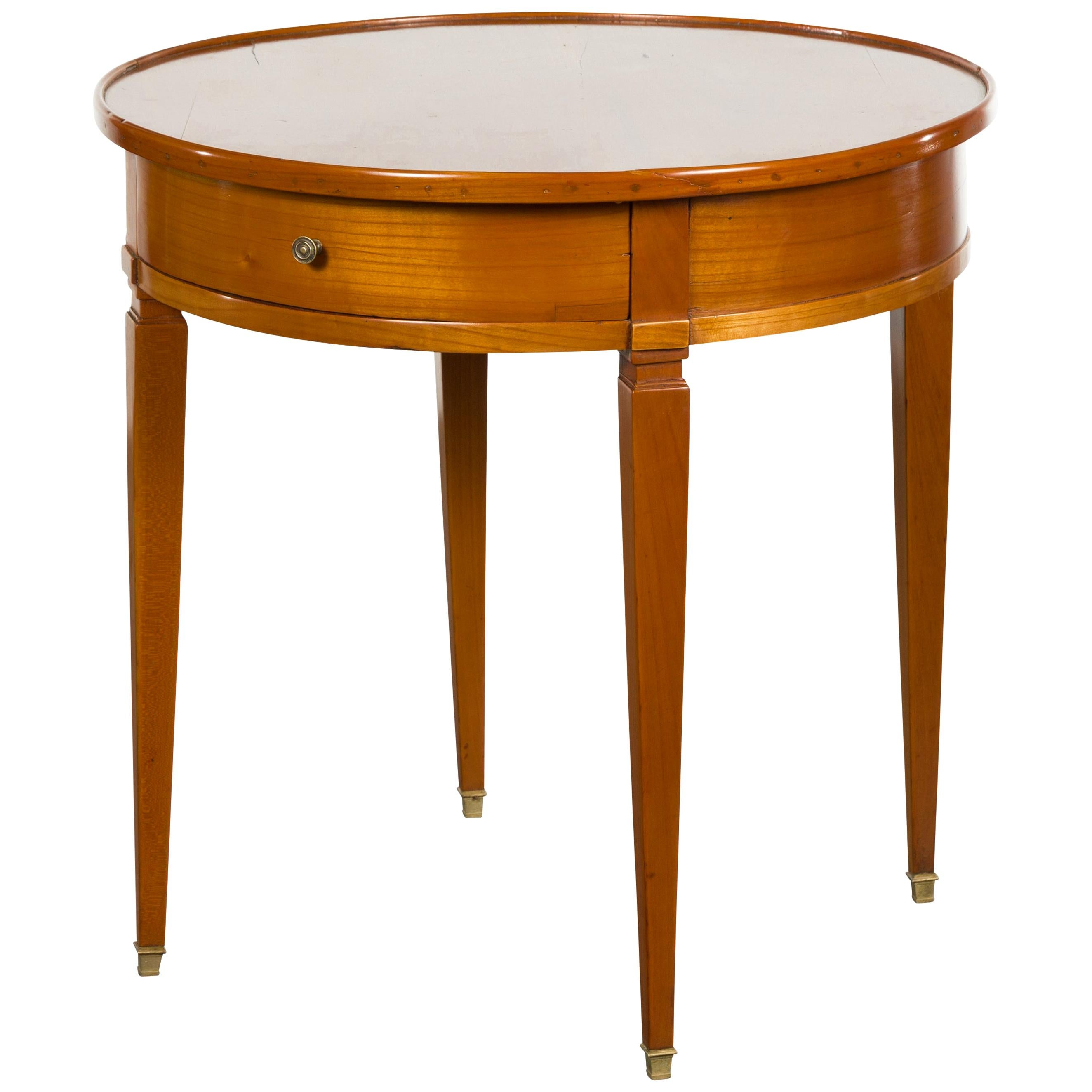 French Napoléon III 1850s Walnut Side Table with Single Drawer and Tapered Legs
