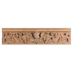 French Napoléon III 1860s Lemon Wood Carved Panel with Angel and Cornucopia