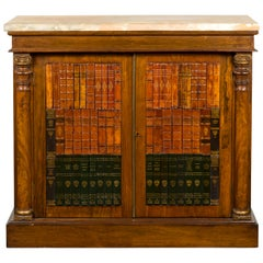 French Napoléon III 1870s Faux Book Rosewood Credenza with Ionic Half Columns