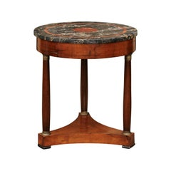 French Napoleon III 1870s Walnut Table with Marble Top and Bronze Capitals