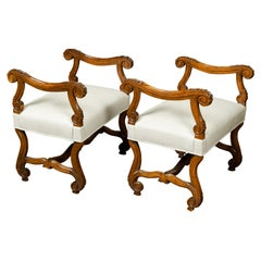 French Napoléon III 1870s Walnut Upholstered Stools with Scrolling Accents