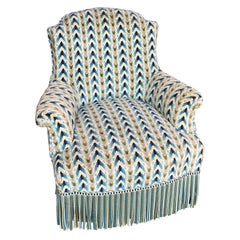 French Napoleon III Armchair in Geometric Patterned Velvet