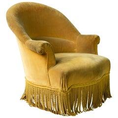 French Napoleon III Armchair in Gold Velvet