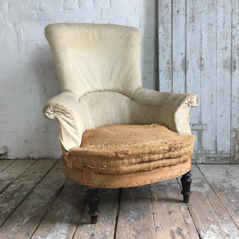 Wood French Napoleon III Armchair with High Back For Sale