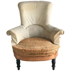 French Napoleon III Armchair with High Back