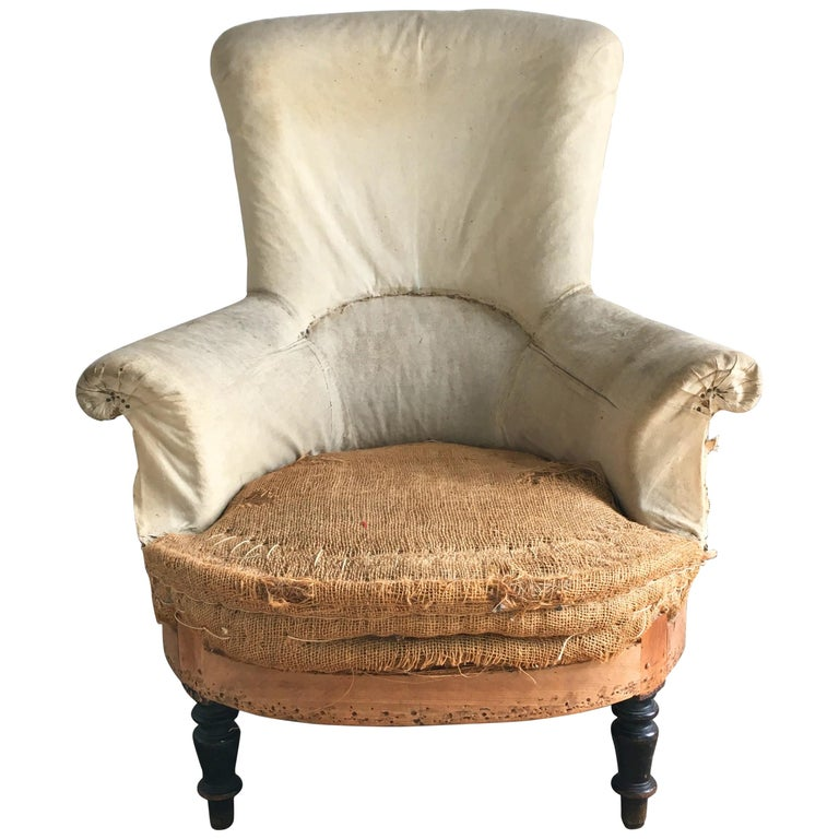 French Napoleon III Armchair with High Back For Sale