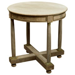 French Napoléon III Bleached Wood Side Table with Circular Top and Brass Accents