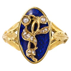 French Napoleon III Blue Enamel Natural Pearl Diamond Antique Ring