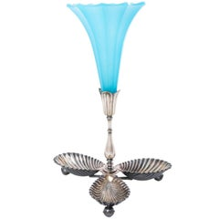 French Napoleon III Blue Opaline Glass Trumpet Epergne Vase, circa 1900s