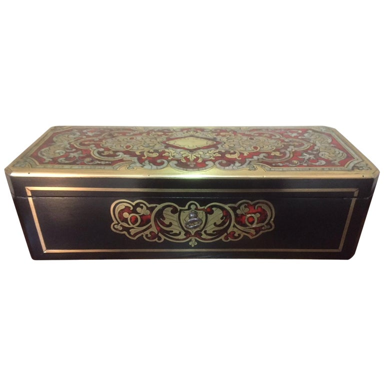 """French Napoleon III """"Boulle"""" Marquetry, Nacre and Gilded Brass Gloves Box For Sale"""