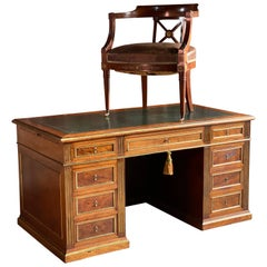 French Napoleon III Brass Mounted Plum Pudding Desk and Chair, circa 1890