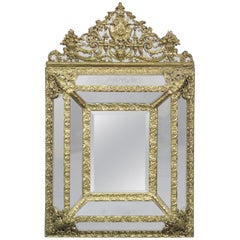 French Napoleon III Brass Repousee Cushion Mirror, circa 1920