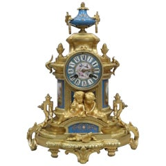 French Napoleon III Bronze Gilt and Porcelain Mantel Clock by Japy Freres