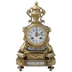 French Napoleon III Bronze Gilt Mantel Clock with Porcelain Panels