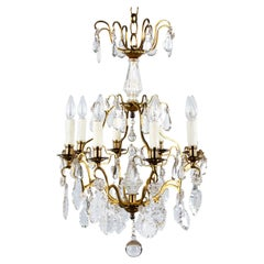French Napoleon III Crystal and Gilt Bronze Chandelier, Late 1800s