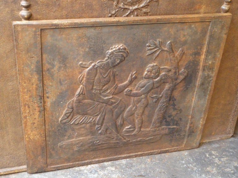Cast French Napoleon III 'Diana' Fireback, 19th Century For Sale