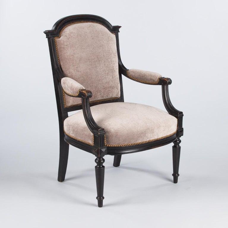French Napoleon III Ebonized Armchair, 1870s For Sale 6