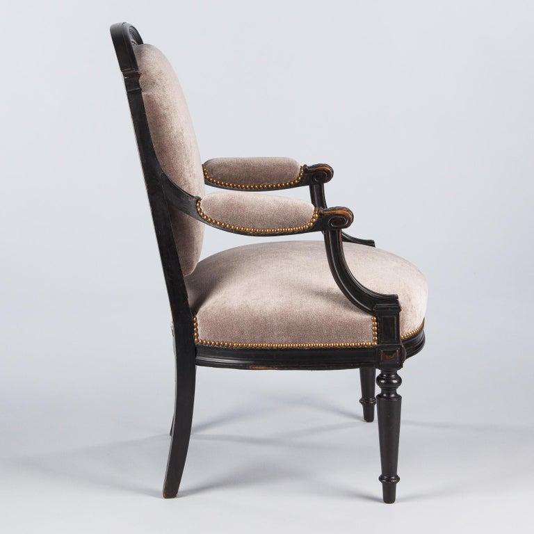 French Napoleon III Ebonized Armchair, 1870s For Sale 7