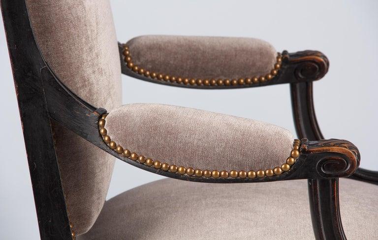 French Napoleon III Ebonized Armchair, 1870s For Sale 8