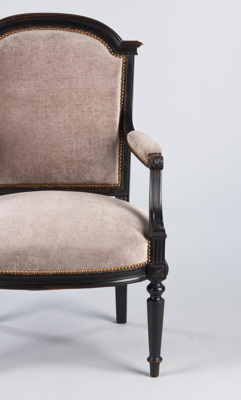 French Napoleon III Ebonized Armchair, 1870s For Sale 10