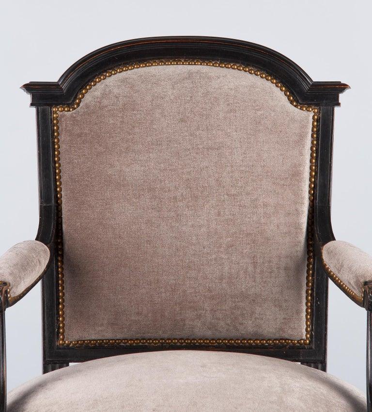 French Napoleon III Ebonized Armchair, 1870s For Sale 11