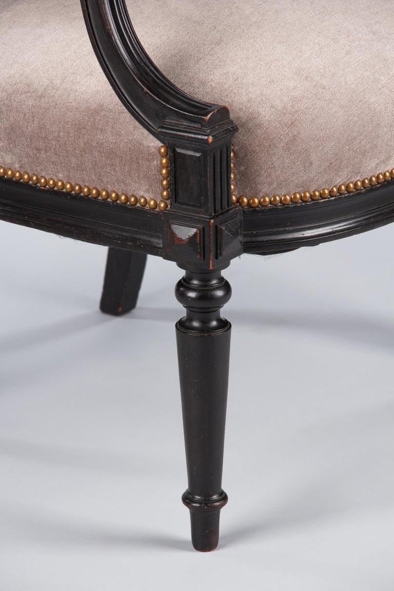 French Napoleon III Ebonized Armchair, 1870s For Sale 12