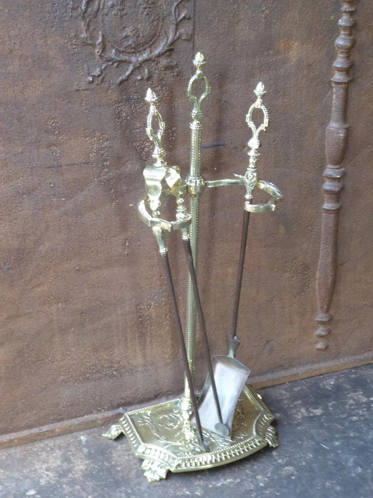 Forged French Napoleon III Fireplace Tools or Fire Tools For Sale