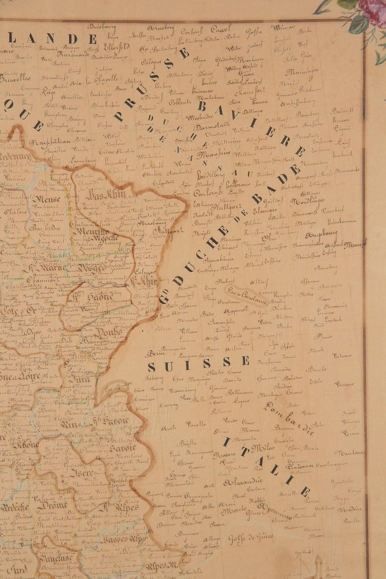 French Napoleon III Framed Hand Drawn Map of France, 1870s For Sale 7